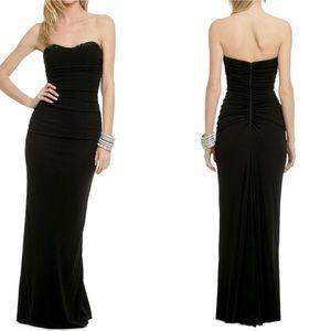 Badgley Mischka black strapless ruched gown